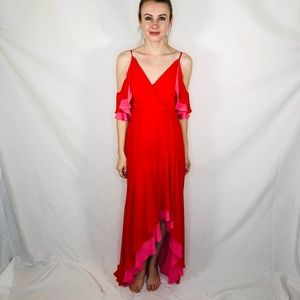 BCBG Long Pink Red Maxi Ruffle Dress Gown V Day 0